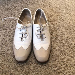 Joan & David Tan and White Wingtip loafer shoes 5-